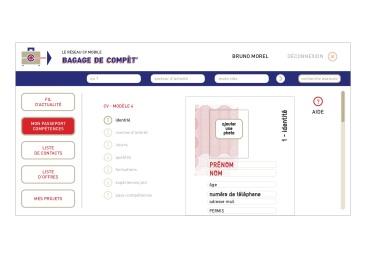 LÀBA, Bagage de compèt, page d'édition de CV du réseau CV mobile, 2017 (2)