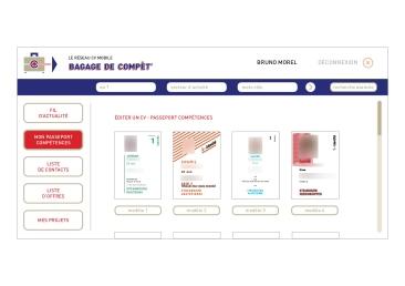 LÀBA, Bagage de compèt, page d'édition de CV du réseau CV mobile, 2017